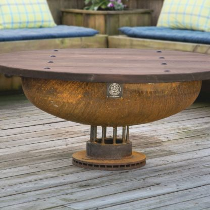 36-Elliptical-Fire-Pit-on-truck-rotor-with-Table