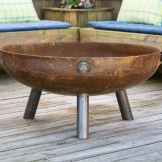 42 inch round lowboy fire pit on three legs