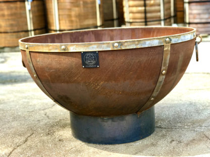 41 inch cauldron style round fire pit on base.
